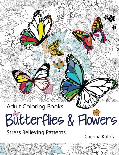 Adult-Coloring-Book-Butterflies-and-Flowers-Stress-Relieving-Patterns-Volume-7