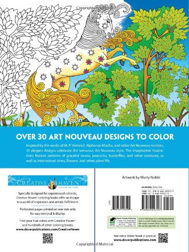 Adult Coloring Nouveau Animal Designs Dover Creative Haven Art Coloring Book
