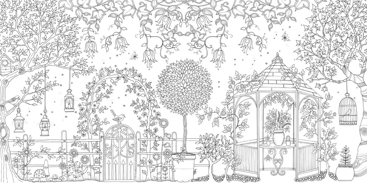 Adult coloring pages with flowers, gardens, trees