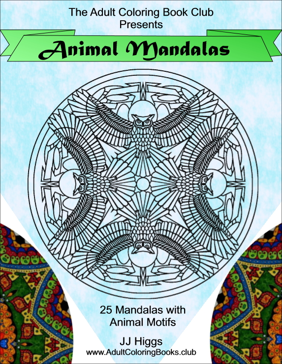 Animal Mandalas stress relieving adult coloring book