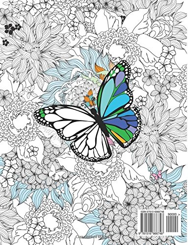 Butterfly and flowers adult coloring book