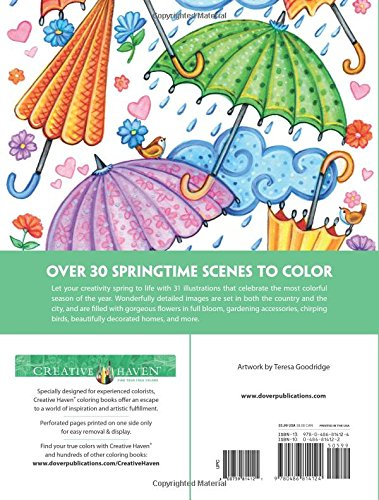 Spring Scenes coloring book for grownups - Creative Haven