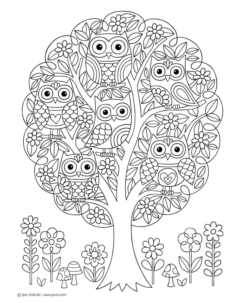 Owl coloring pages designs for adults