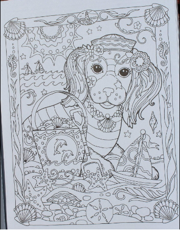 Adult coloring book with dog pictures