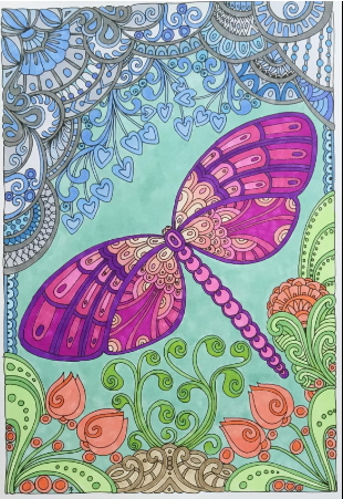 Anti-stress coloring book with dragonflies and nature