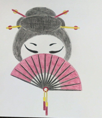 Simple Japanese fan design coloring page