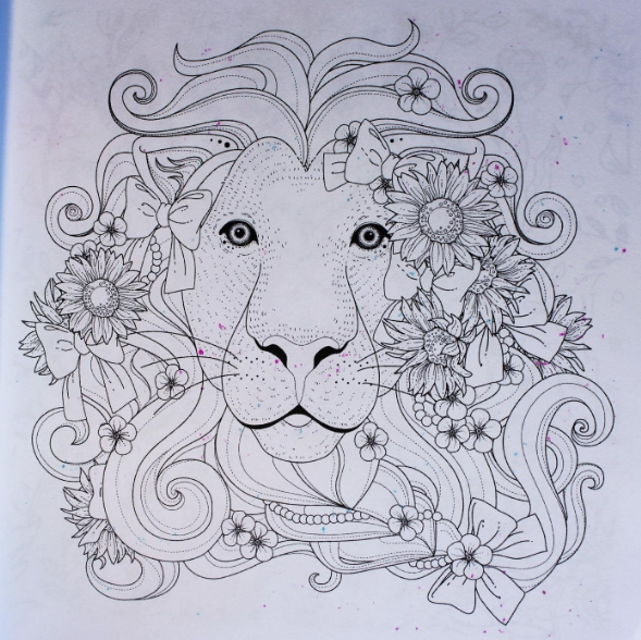 lion animal adult coloring page