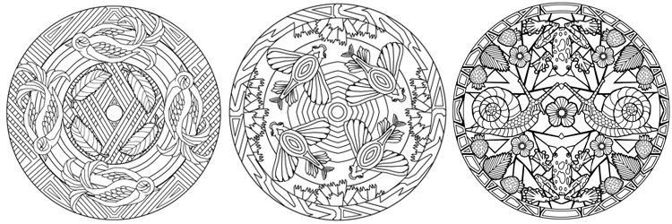 Animal mandalas adult coloring pages