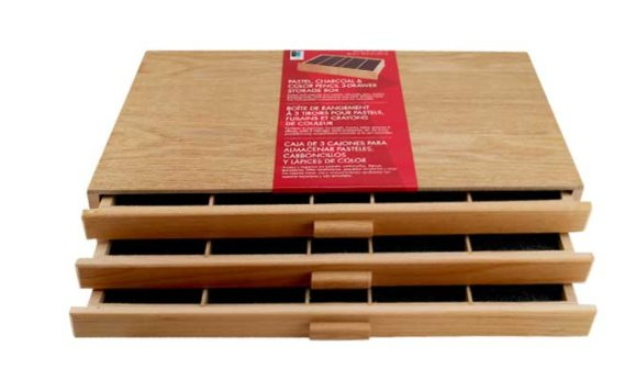 3 Drawer Wood Pencil Storage Box
