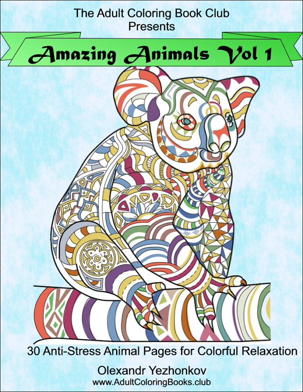 Amazing Animals Vol 1 – Anti-Stress Coloring Book for Adults