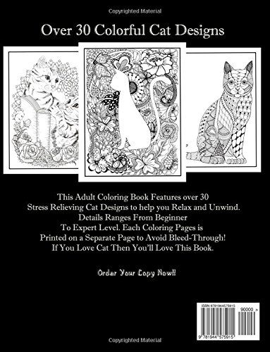 Stress relieving Cat coloring books Adult Coloring Book Colorful Cats to help you relax and unwind