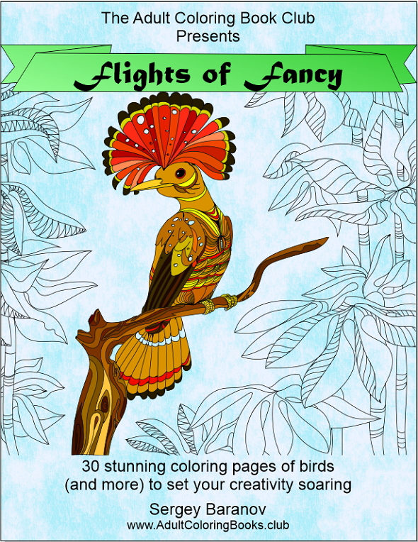 Flights of Fancy – Printable Adult Coloring Book of Birds and More