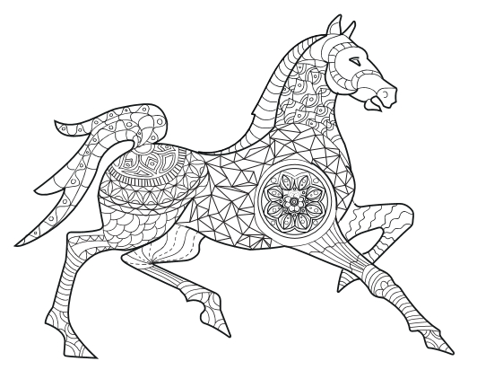 Book For Adults Horse Adult Coloring Page