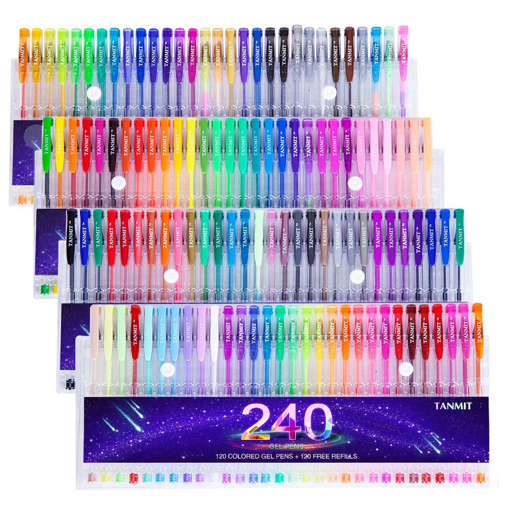 Tanmit 240 Color Gel Pens Set for Adult Coloring Books - Adult ...